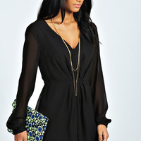 Becca Long Sleeve Pleat Front Woven Playsuit