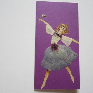 "Handmade unique greeting card ""Elegance"" - Decorated with dried pressed flowers and herbs - Original art collage."