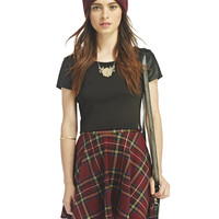 Lauren Faux-Leather Sleeve Crop | Wet Seal