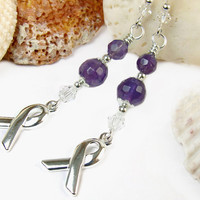 Handmade Amethyst Purple Awareness Earrings, Silver Tone Ribbons, Sterling Silver Hooks, Alzheimers Disease, CF, and More