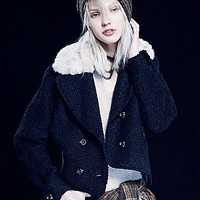 Free People Womens Topped in Fur Peacoat - B