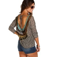 Black Crochet Back Knit