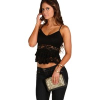 Black Lace Peplum Crop