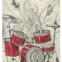 Drum Art Print - Drum Artwork - Music Artwork - Drummer Gift - Rhythm Ripple by Black Ink Art