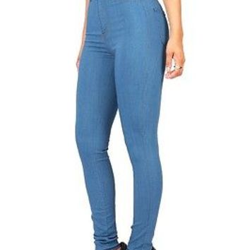 Classic Light Denim Vintage Skinny Fitted High Waist Rise Womens Jeans Pants