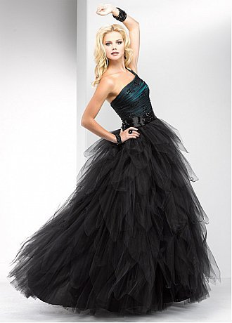 Buy discount Elegant Tulle&Satin Ball Gown One-Shoulder Black Prom Dress at dressilyme.com