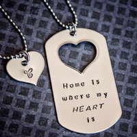Hand Stamped Home is Where My Heart Is dog tag necklace by StampedMemoriesbyMel