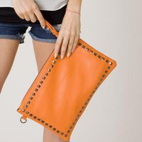 Orange Clutch - Studded Orange Envelope Clutch Bag | UsTrendy