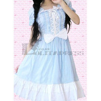 Wonderful Childlike Short Sleeves Bandage Bowknot Cotton Blue Sweet Lolita Dress [TQL120507081] - £49.59 :