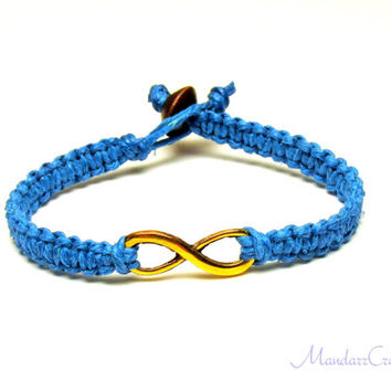 Infinity Bracelet, Bright Blue Macrame Hemp Jewelry, Gold Tone Infinity Charm - Made to Order