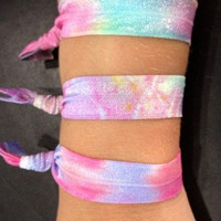 4 Tie Dye Elastic Hair Ties and bracelets by DCTiesForACure