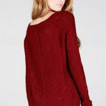 Comfort Habits Simple Knit Sweater in Maroon | Sincerely Sweet Boutique