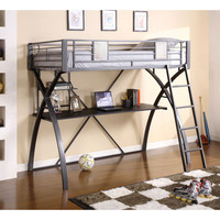 Furniture of America Xavien Metal and Chrome Twin Loft Bed with Workstation