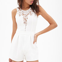 Lace-Paneled Ribbed Romper