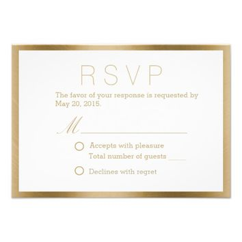 Classy Gold Framed Wedding Response Cards