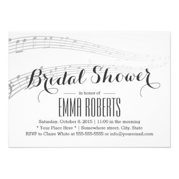 Elegant Music Notes Bridal Shower Invitations