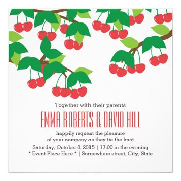 Simple Sweet Cherries Wedding Invitations