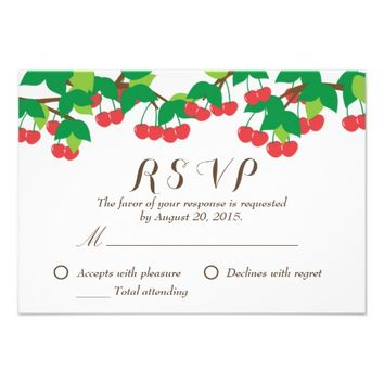 Simple Sweet Cherries Wedding RSVP Card