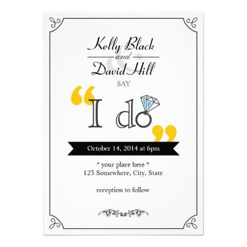 "Simple Diamond Ring ""I do"" Wedding Invitations"