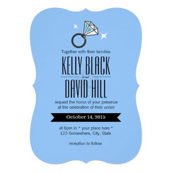 Simple Bright Diamond Ring Wedding Invitations