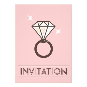 Simple Big Diamond Ring Pink Wedding Invitations