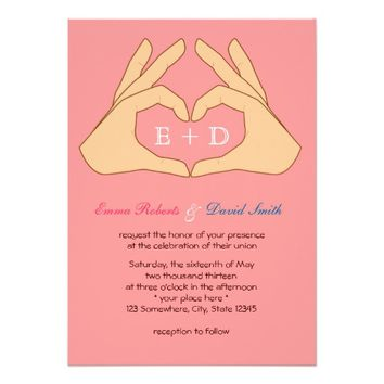 Simple Hand Heart Pink Wedding Invitations