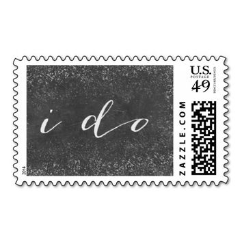 """I do"" Script Simple Chalkboard Wedding Stamps"