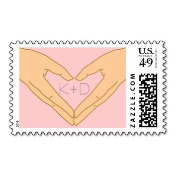 Simple Hand Heart Pink Custom Wedding Stamps (v2)