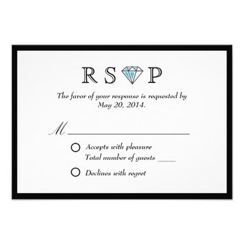Black Border Diamond Stone Wedding RSVP Card