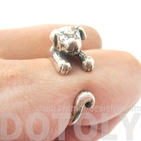 Realistic Puppy Dog Animal Wrap Around Hug Ring In 925 Sterling Silver