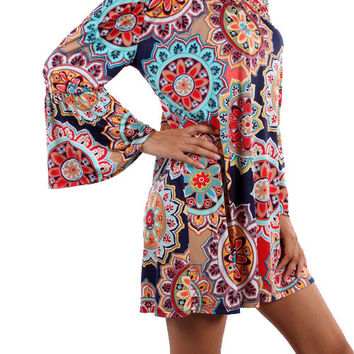 Navy and Red In Full Bloom Tunic Top