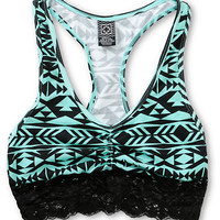Empyre Mint & Black Tribal Racerback Bralette