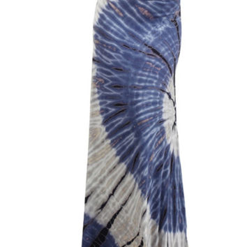 In Style Long TieDye Navy/Grey Maxi Skirt