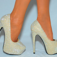 Ladies Court Shoes High Heels Rhinestone Crystal Sparkly Party Wedding Size 5-10