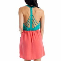 two-tone t-strap dress &amp;#36;34.00 in EMERALD PERIWINKLE SALMON - New Dresses | GoJane.com