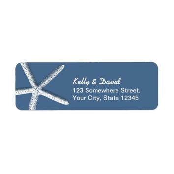 Simple Starfish Navy Blue Return Address Labels