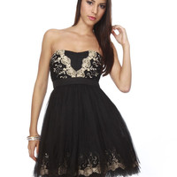 Mascherata Strapless Black Dress