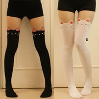Women Girl Cat kitty Bow Tail Mock Legging Stocking Fake High Tight Pantyhose