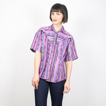 Vintage 90s Shirt Grunge Shirt Purple Southwestern Print South Western Striped Navajo Print Western Shirt Cowboy Shirt Top M Medium L Large