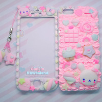 Pink strawberry bunny case - Super cute kawaii front back case for Iphone 4 4s 5 galaxy s2 s3 s4