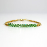 Simple & Skinny Gold and Bright Green Glass Beaded Layering Bracelet - Handmade Trendy Lightweight Summer Fashion Jewelry - Ready to Ship