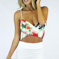 Floral Printed Wrap Crop Top