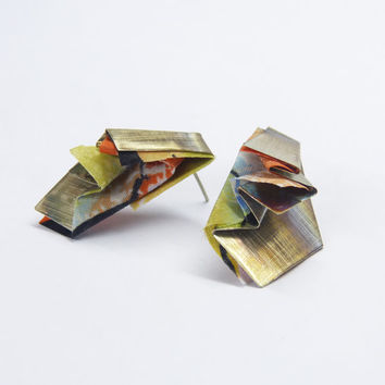 Metal and textil pendant- origami earring- contemporary jewelry pendant-Cooper, bronze, nickel silver combined with folded fabric
