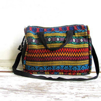 Vintage ethnic weekender travel bag / embroidery suitcase duffel purse
