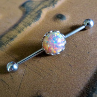 Chunky Fire Opal Industrial Barbell Piercing Earring Jewelry Pink Silver Surgical Steel 14g 14 G Gauge Bar