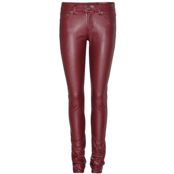 saint laurent - leather-effect skinny jeans