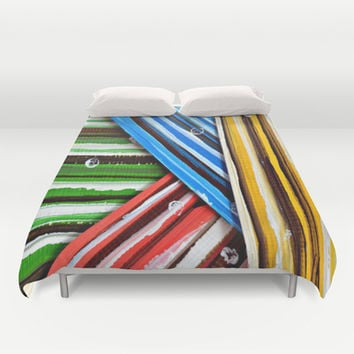 Striped Planes Duvet Cover by Claudia McBain
