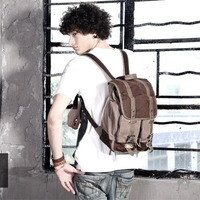 Distressed leather and canvas patrol tactical haversack from Vintage rugged canvas bags