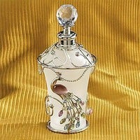 Jewel Peacock White Floral Perfume Bottle Fragrance Container Decor