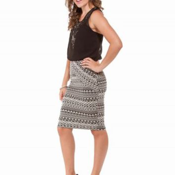 PIECED AZTEC MIDI SKIRT